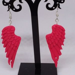 Unique Handmade Polymer Clay Angle Wing Earrings